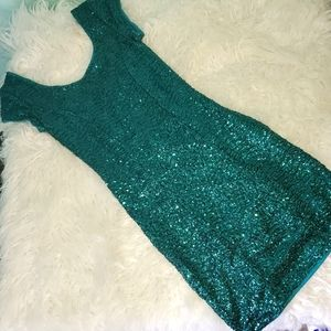 Divided by H&M emerald sequin mini dress size 2